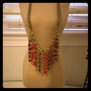 Jewelry - Coral beaded fringe necklace